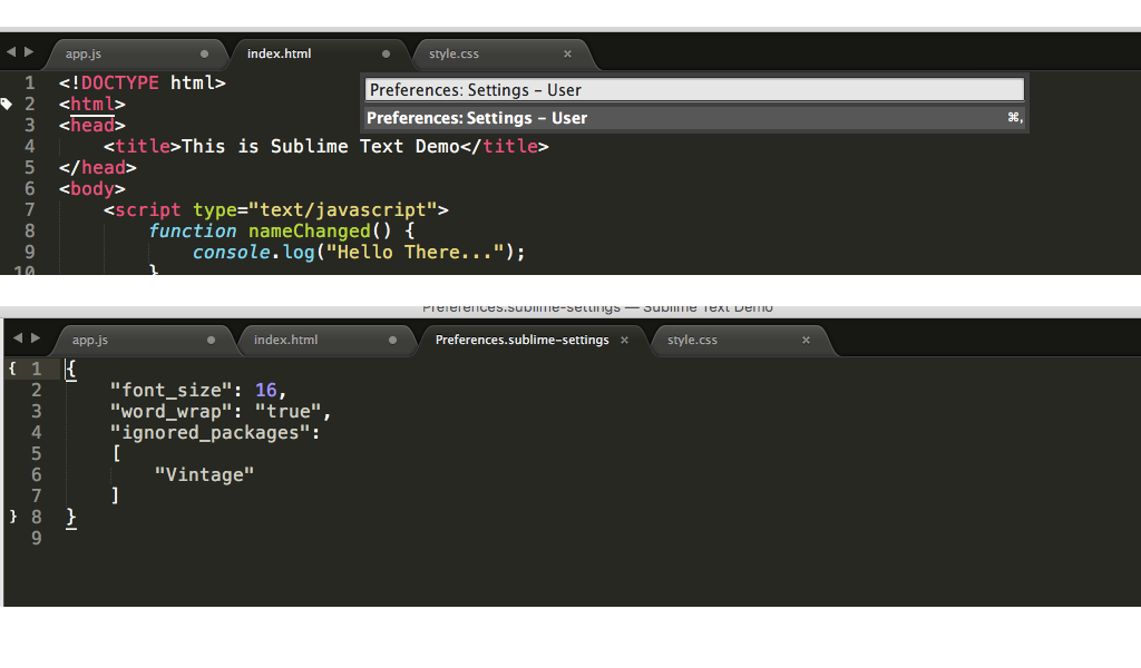 User Settings in Sublime Text
