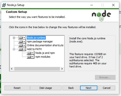 Node and npm installation
