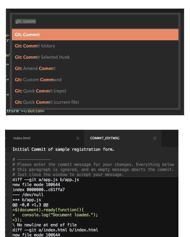 Git Commit in Sublime Text