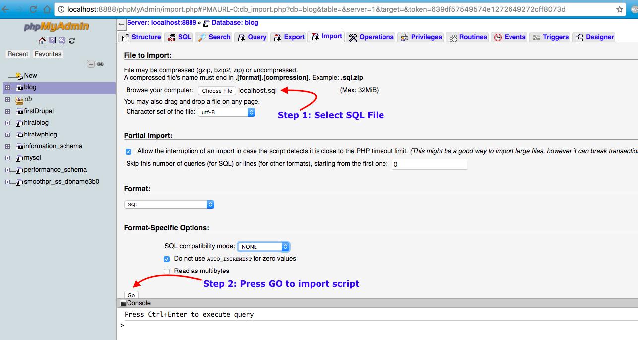 Import SQL Script to local db