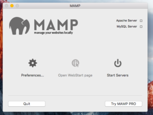 MAMP Application Start up
