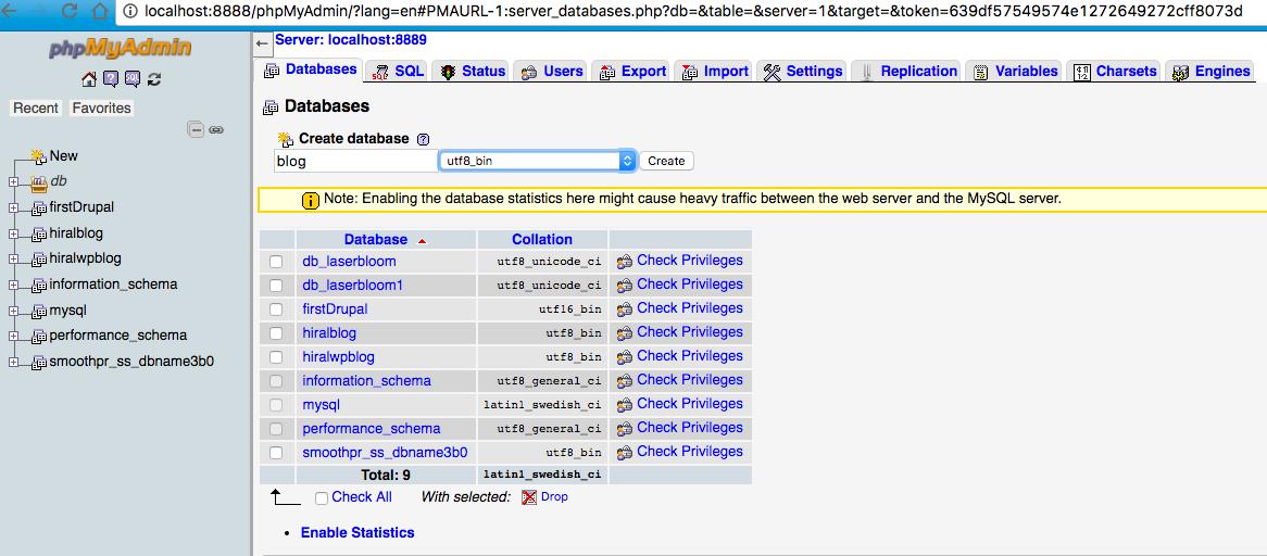 Create DB using PHPMyAdmin