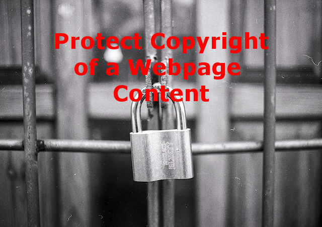 Protect Copyright of a Webpage Content