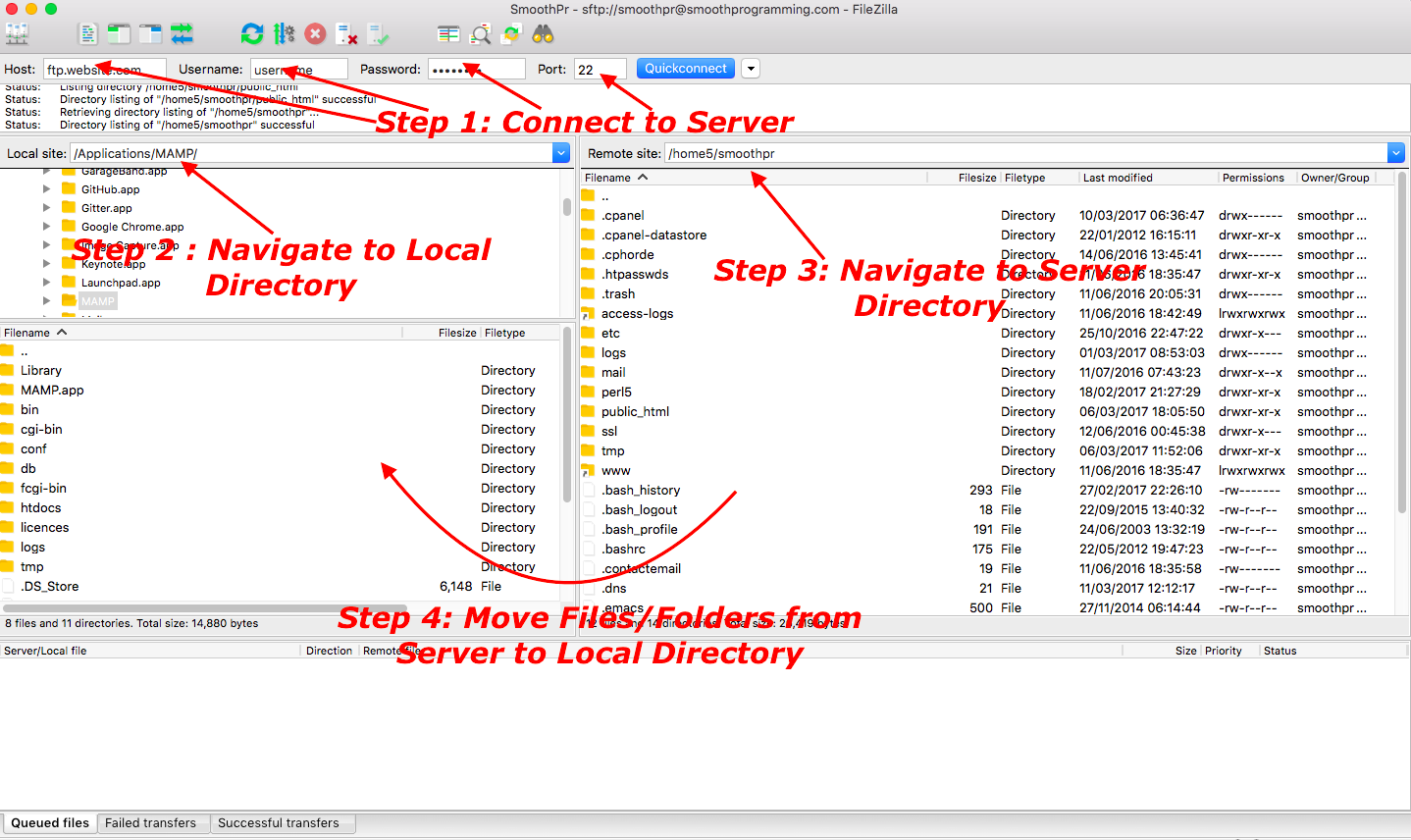 Transfer files between client and server using FileZilla